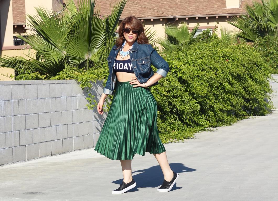 Zara green skirt_02