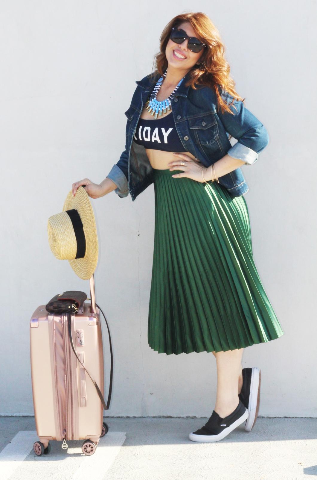 Zara green skirt_05_luggage